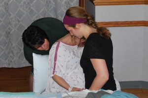 Another rare photo of me during the labor of one of my clients. (Hannah, Grandma and Me)